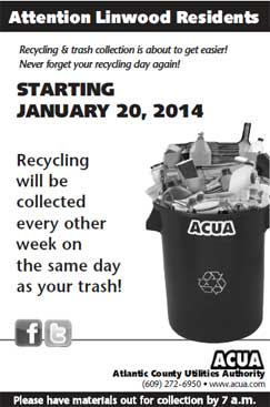 Starting January 20, 2014 recycling will be collected every other week on the same day as your trash.